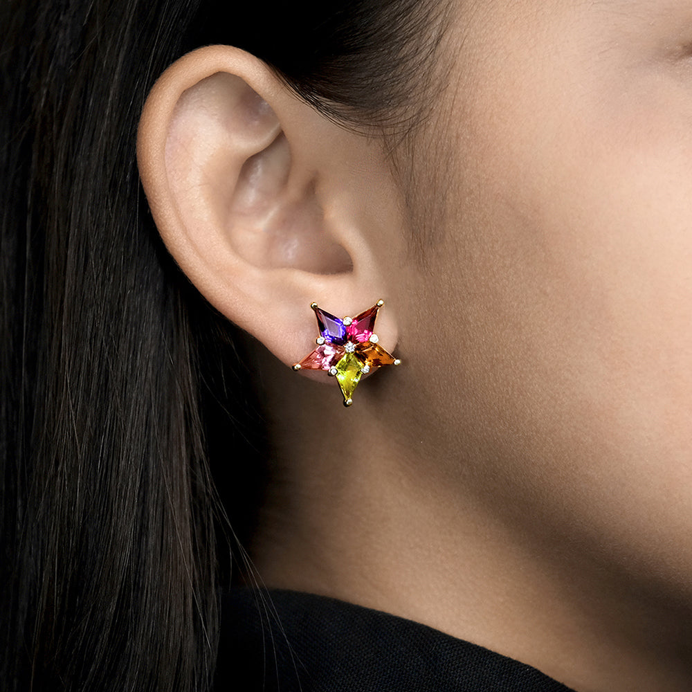 Star Earrings with Amethyst, Pink Tourmaline, Yellow Beryl, Rubellite, Citrine and Diamonds