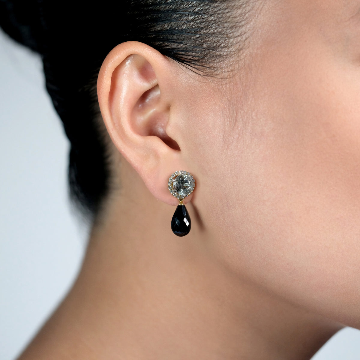 Black Spinel Drops, 13mm, YG
