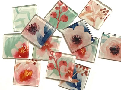 Handmade flower Series Glass Tiles
