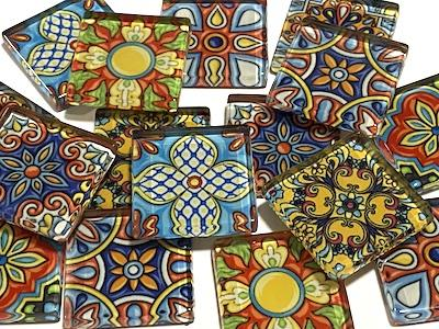 Mixed Patterned Glass Tiles 2.5cm