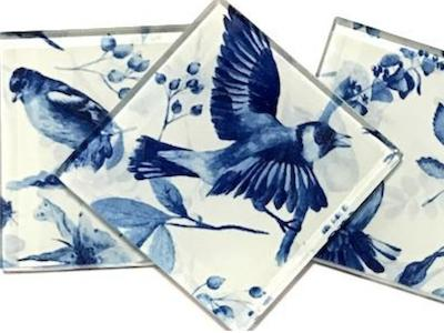 Handmade Patterned 5cm Glass Tiles