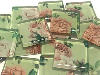 SHABBY CHIC GLASS MOSAIC TILES 2.5CM