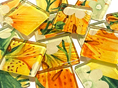 Watercolour Flower Glass Tiles 2.5cm
