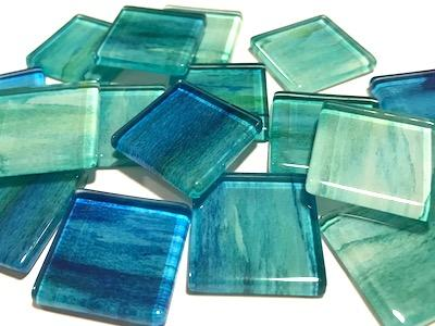 2.5cm Watercolour Glass Tiles