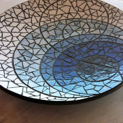 "Miss Molly's Designs, ""The Blues"" stained glass mosaic platter."