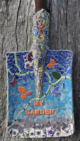 Mosaic shovel project garden art