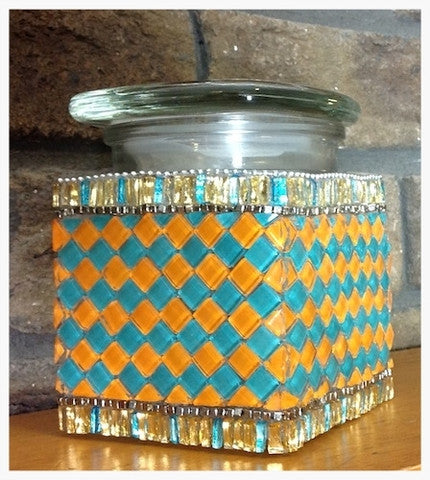 Glass on glass mosaic vase