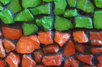 tumbled glass pieces that have been grouted