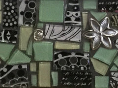 closeup of handmade glass tiles