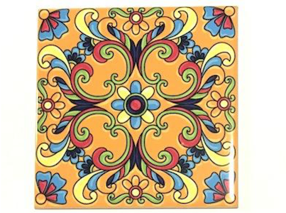 Mexican and Portuguese Inspired Ceramic Tiles 10x10cm