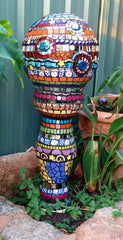 Mosaic garden tower by Tracey Holland