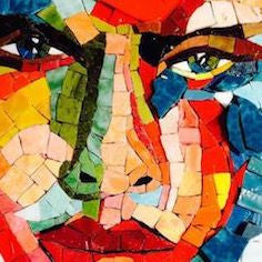 understanding colour in mosaics - Mosaic portrait by Beverely Less