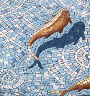 "Single fish from Gary Drostle's Koi Fish mosaic ""Fishpond"","