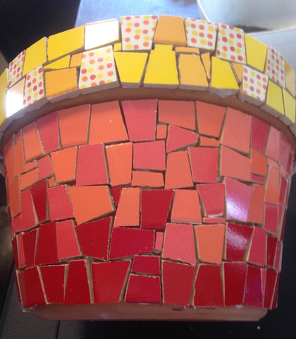 mosaic garden pot tiled and ready for grouting