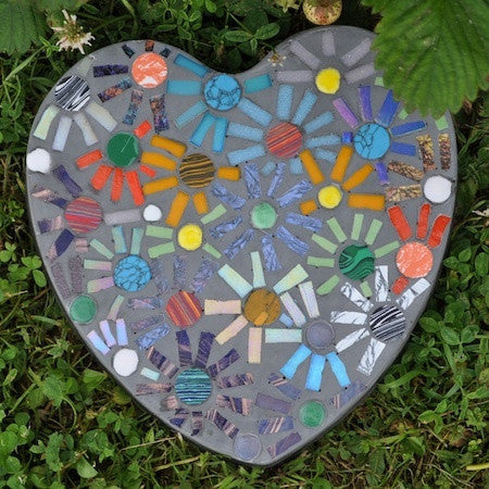 mosaic stepping stone instructions using the casting method