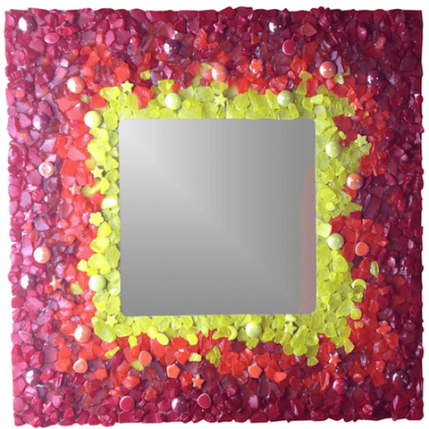 mosaic mirror made of tumbled glass pieces