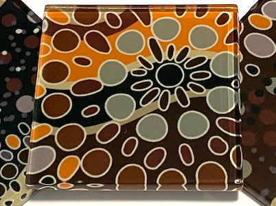 Aboriginal Inspired 5cm Glass Tiles - Pattern 9 (HM)