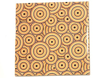 Aboriginal Inspired Ceramic 10x10cm - Pattern 6