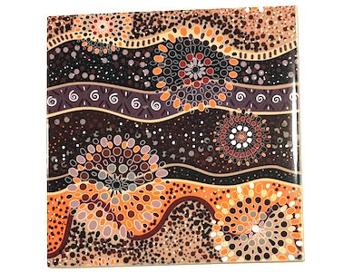 Aboriginal Inspired Ceramic 10x10cm - Pattern 9 (HM)