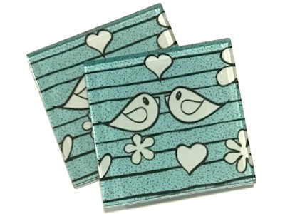 Aqua Birds 5cm Glass Tiles