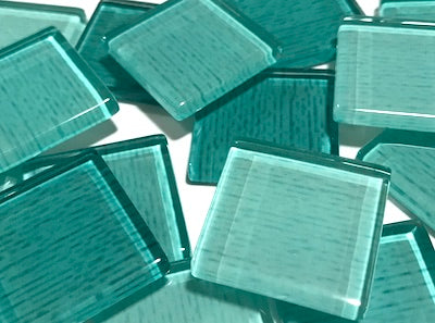 Aqua Green Fine Textured Glass Tiles 2.5cm