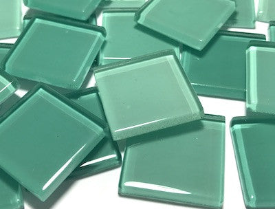 Mixed Aqua Green Glass Mosaic Tiles 2.5cm