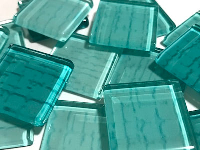 Aqua Green Textured Glass Tiles 2.5cm