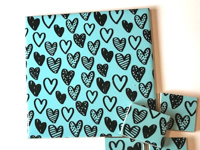 Aqua Hearts Ceramic Tiles 10x10cm