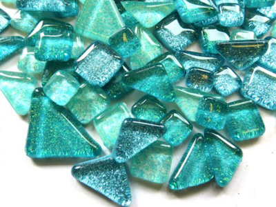 Aqua Mix Glitter Glass Tiles
