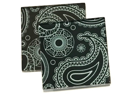 Aqua Paisley 5cm Glass Tiles