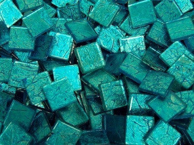 Aqua Silverfoil Glass Tiles 2 cm
