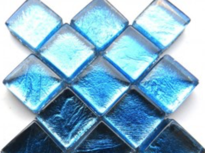 Aqua Blue Silverfoil Glass Tiles 1 cm