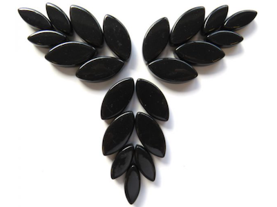 Black Gloss Glass Petals