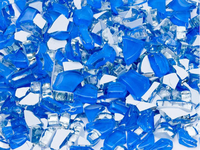 Blue Crackled Glass Mosaic Tiles