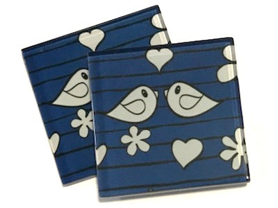 Blue Birds 5cm Glass Tiles