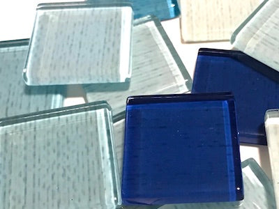 Blue Fine Textured Glass Tiles 2.5cm