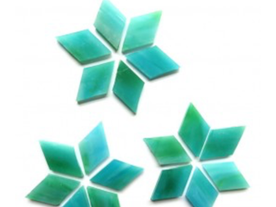 Blue Green Stained Glass Diamonds