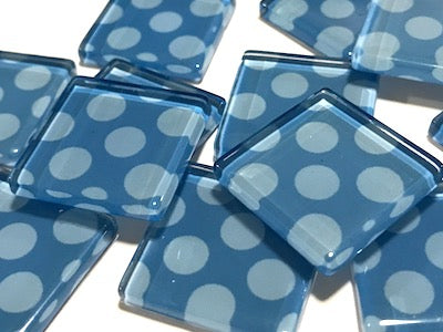 Blue Large Dots Glass Mosaic Tiles 2.5cm