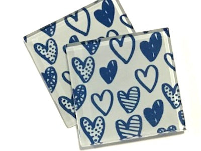 Blue Love Hearts 5cm Glass Tiles