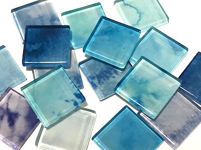 Blue Mix - Watercolour Mix & Match 2.5cm Glass Tiles (HM)