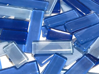 Blue Mixed Glass Rectangles