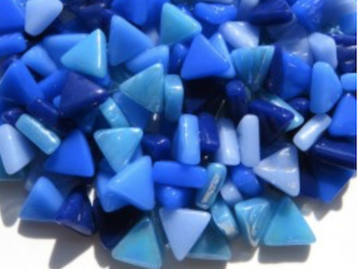 Mixed Blue Glass Triangles