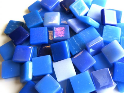 Blue Mixed 12mm Glass Tiles