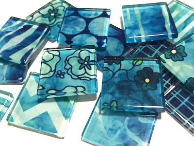 Blue Patterned Glass Tiles 2.5cm