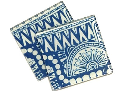 Blue Tribal 5cm Glass Tiles