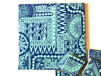 Blue Tribal Ceramic Tiles 10x10cm
