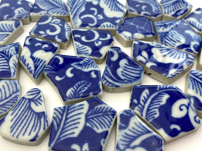 Blue & White Patterned Ceramic Bits - Pattern 4