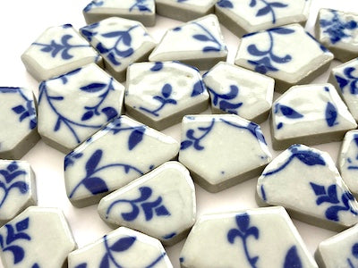 Blue & White Patterned Ceramic Bits - Pattern 5