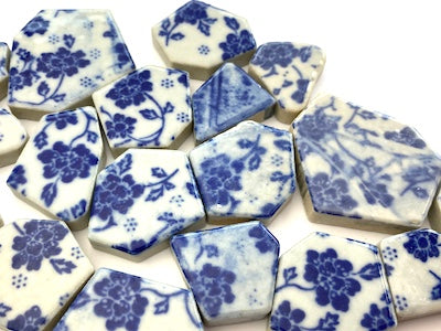 Blue & White Patterned Ceramic Bits - Pattern 6