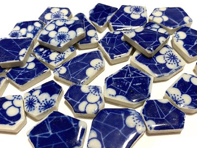 Blue & White Patterned Ceramic Bits - Pattern 1